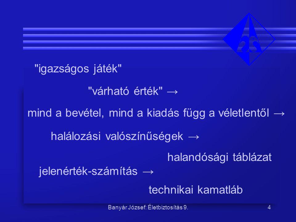 Banyár József: Életbiztosítás 9.
