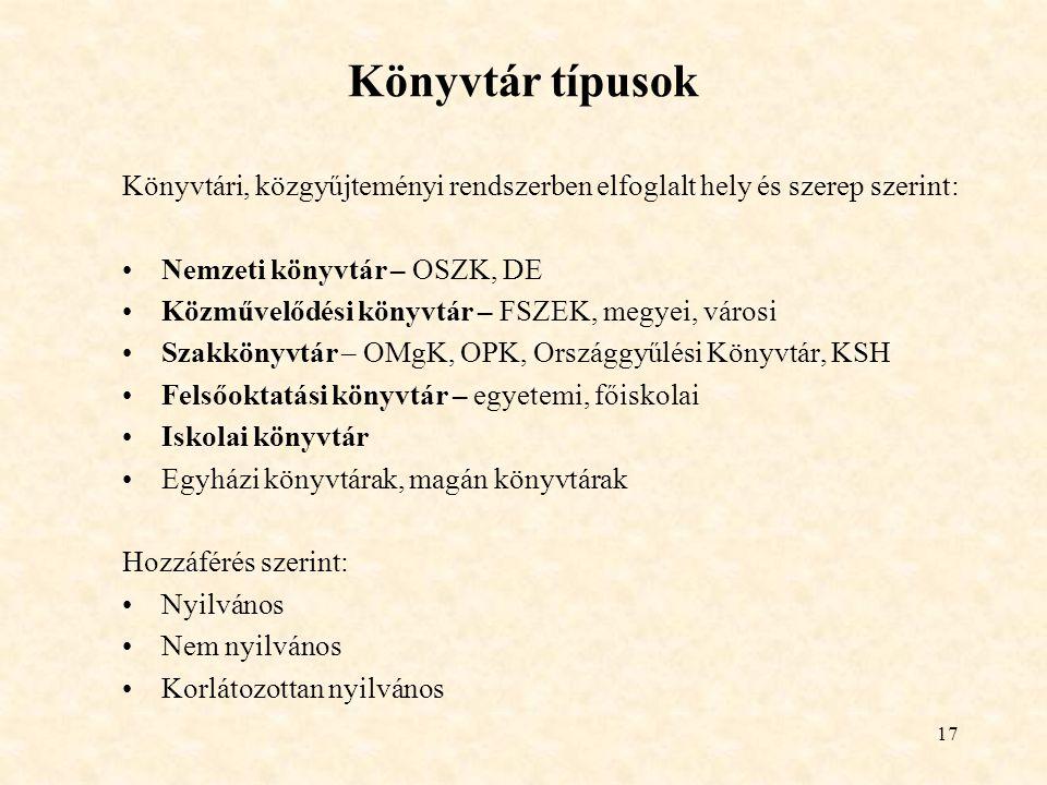 Könyvtár típusok Könyvtári, közgyűjteményi rendszerben elfoglalt hely és szerep szerint: Nemzeti könyvtár – OSZK, DE.