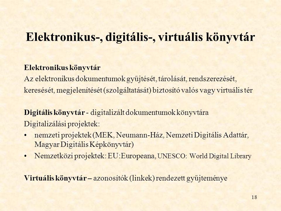 Elektronikus-, digitális-, virtuális könyvtár