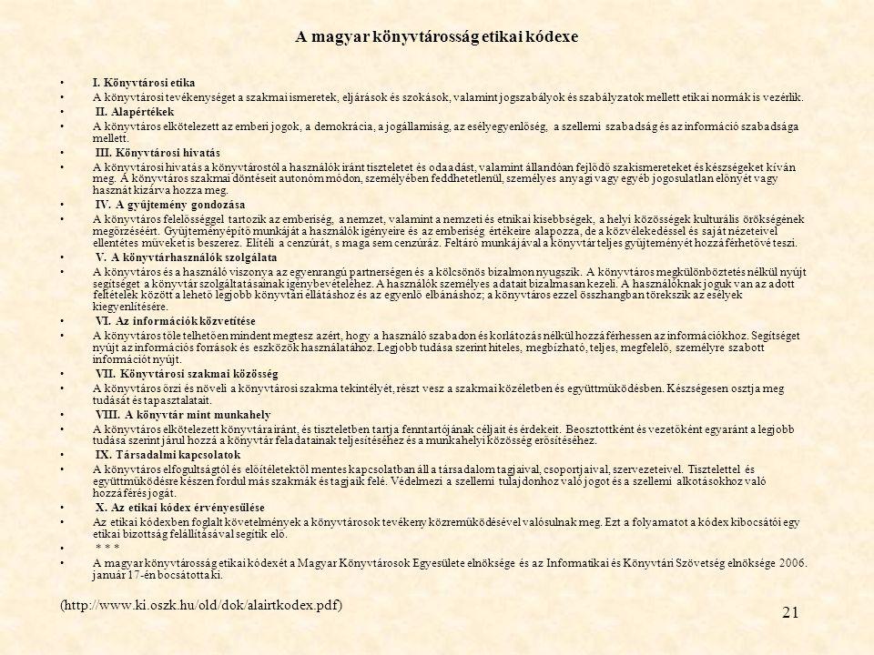 A magyar könyvtárosság etikai kódexe