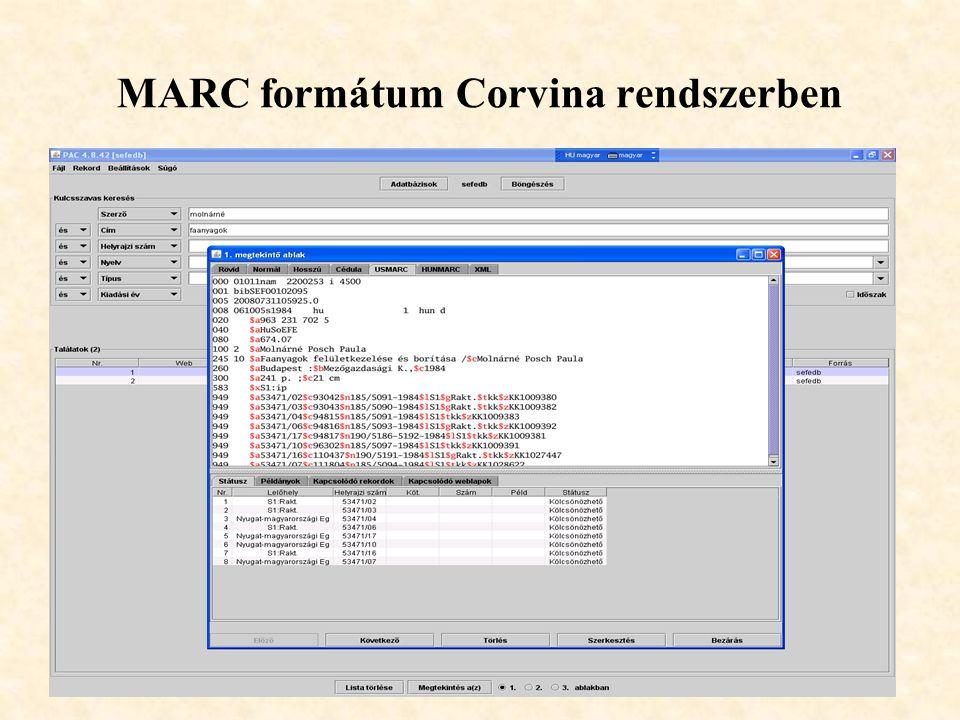 MARC formátum Corvina rendszerben