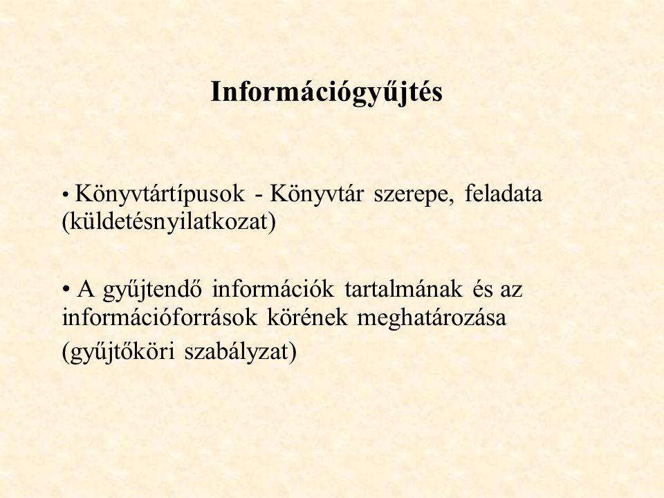 Információgyűjtés Könyvtártípusok - Könyvtár szerepe, feladata (küldetésnyilatkozat)
