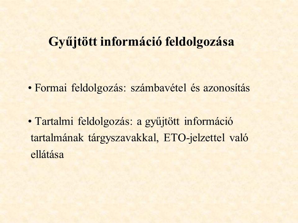 Gyűjtött információ feldolgozása