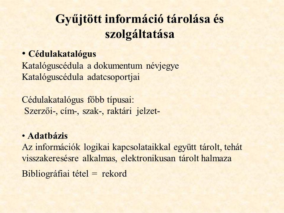 Gyűjtött információ tárolása és szolgáltatása