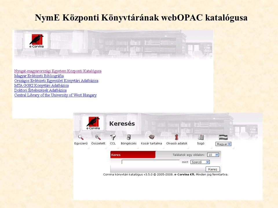 NymE Központi Könyvtárának webOPAC katalógusa