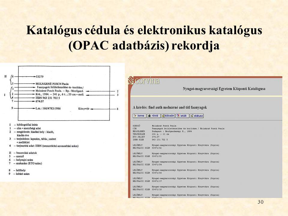 Katalógus cédula és elektronikus katalógus (OPAC adatbázis) rekordja