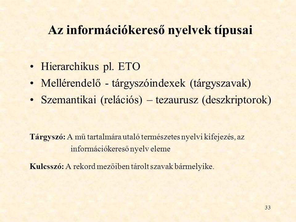 Az információkereső nyelvek típusai