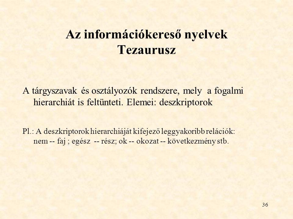 Az információkereső nyelvek Tezaurusz
