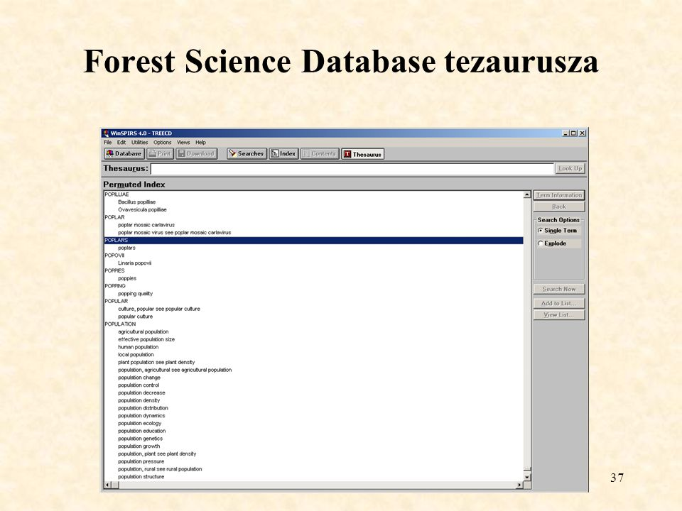 Forest Science Database tezaurusza