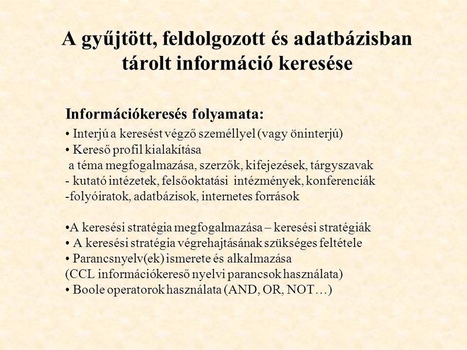 A gyűjtött, feldolgozott és adatbázisban tárolt információ keresése