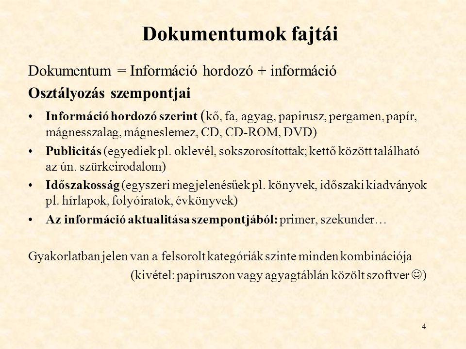 Dokumentumok fajtái Dokumentum = Információ hordozó + információ