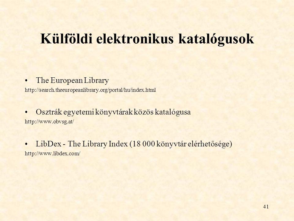 Külföldi elektronikus katalógusok