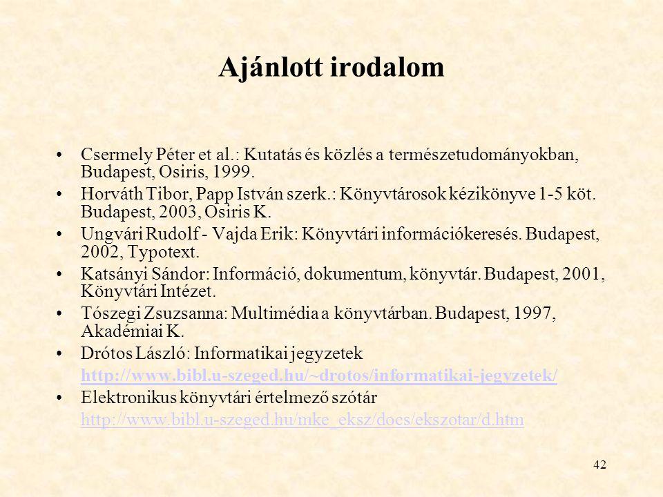 Ajánlott irodalom Csermely Péter et al.: Kutatás és közlés a természetudományokban, Budapest, Osiris, 1999.