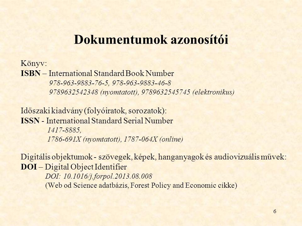 Dokumentumok azonosítói