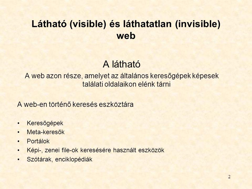 Látható (visible) és láthatatlan (invisible) web