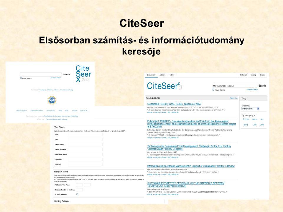 CiteSeer Elsősorban számítás- és információtudomány keresője