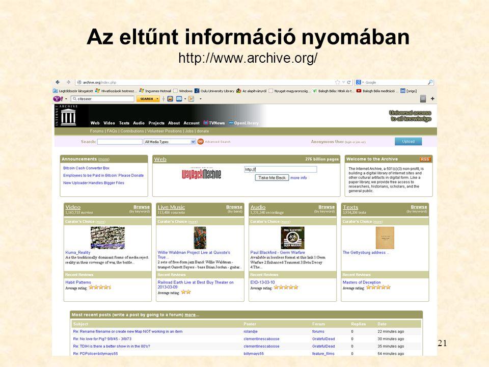 Az eltűnt információ nyomában http://www.archive.org/