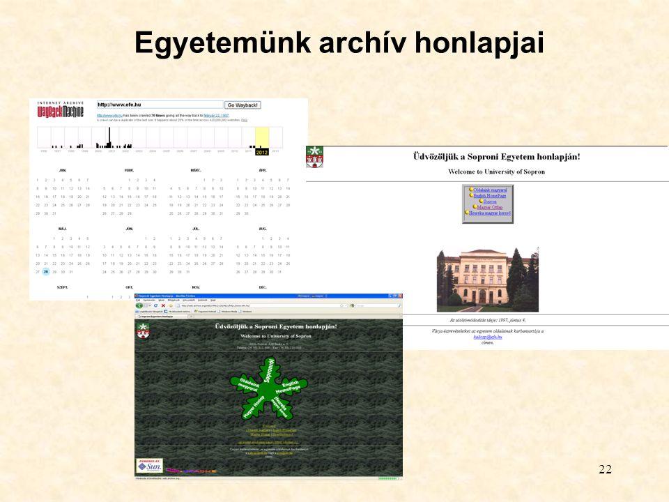 Egyetemünk archív honlapjai