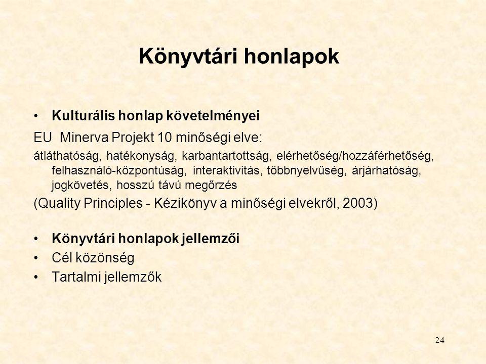 Könyvtári honlapok Kulturális honlap követelményei