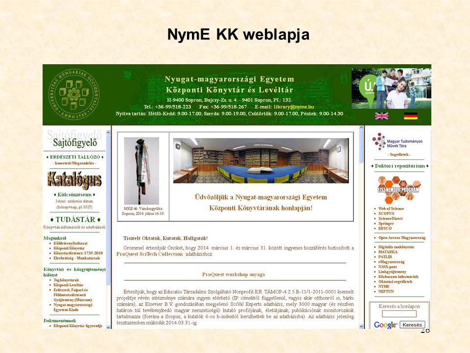 NymE KK weblapja