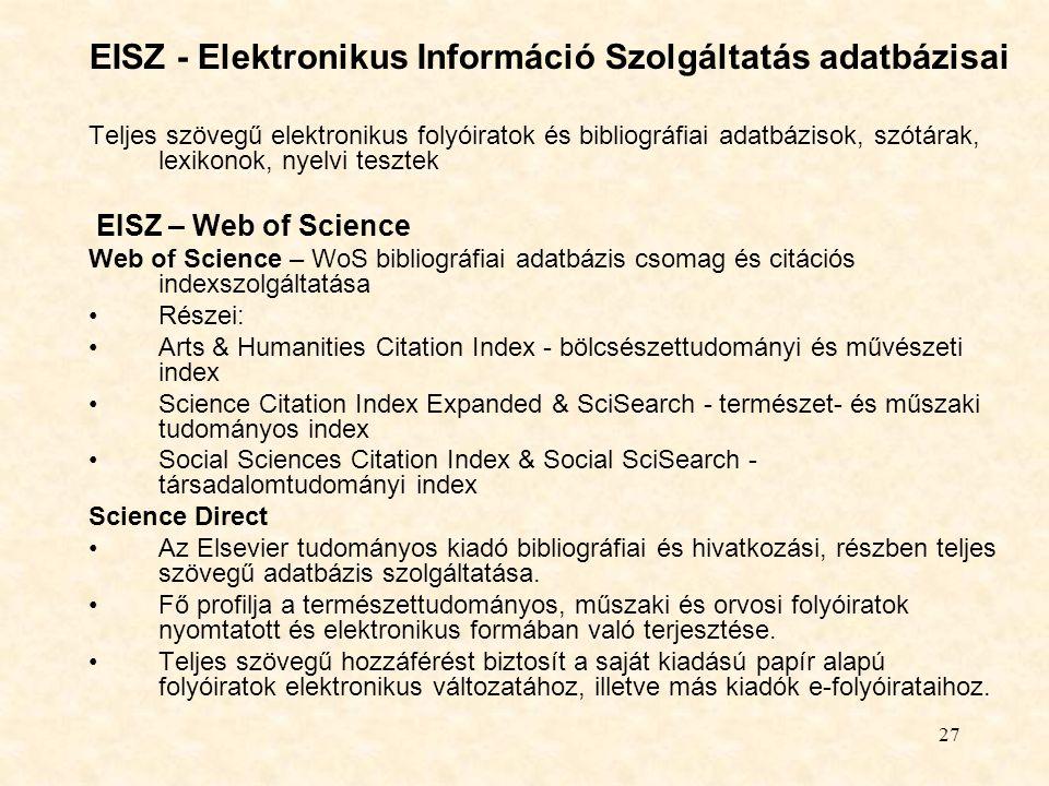EISZ - Elektronikus Információ Szolgáltatás adatbázisai