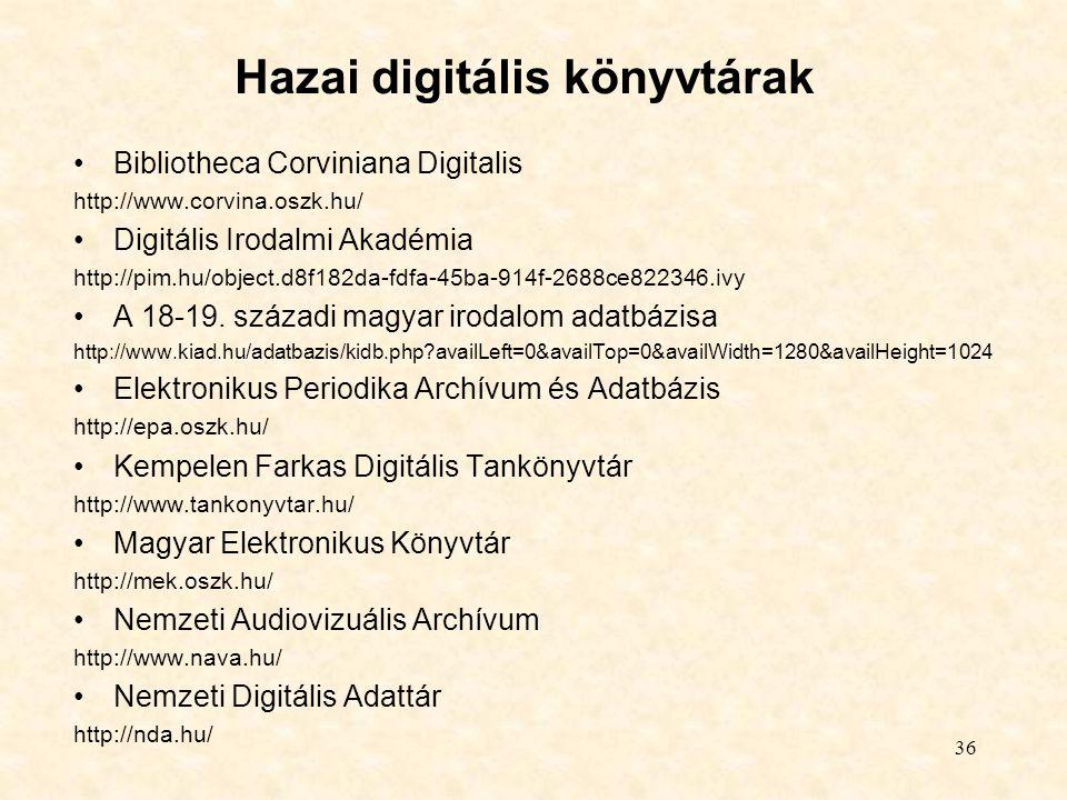 Hazai digitális könyvtárak