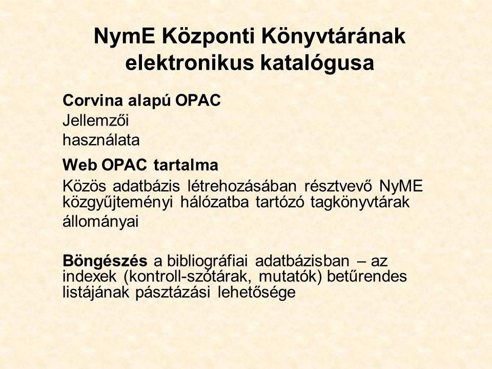 NymE Központi Könyvtárának elektronikus katalógusa