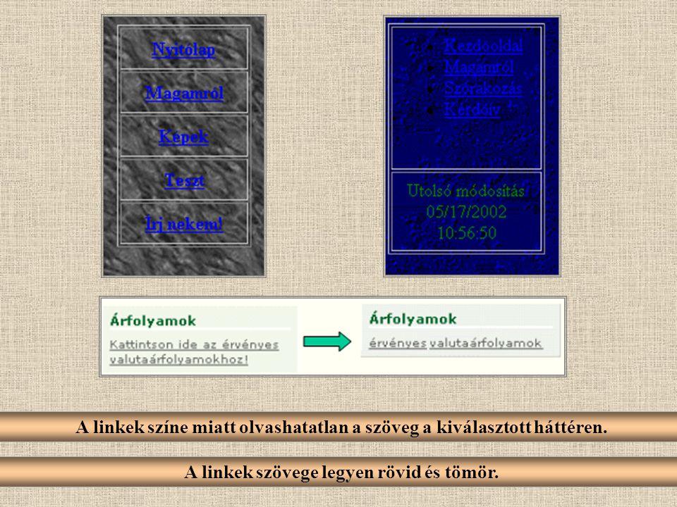 A linkek színe miatt olvashatatlan a szöveg a kiválasztott háttéren.