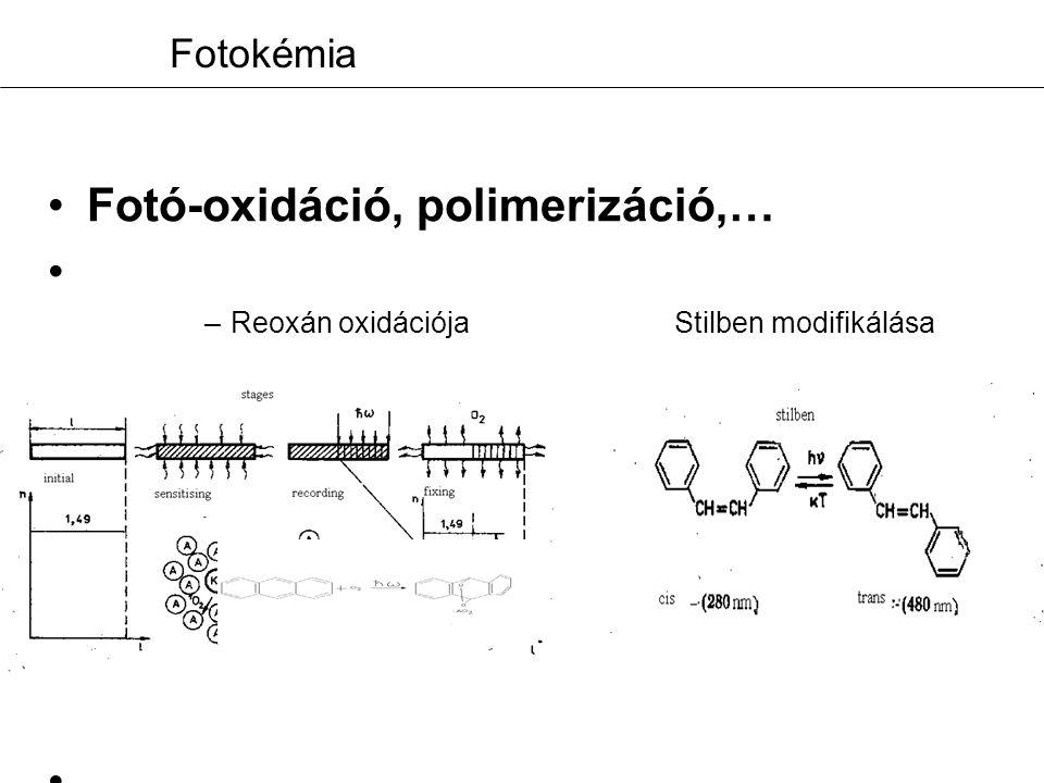 Fotokémia Fotó-oxidáció, polimerizáció,…