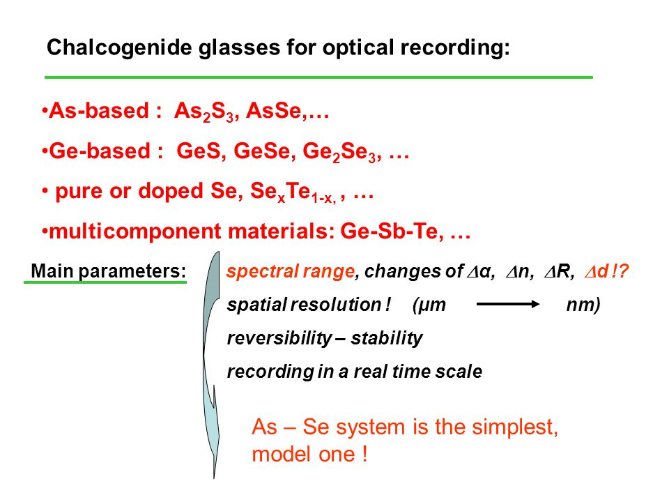 Chalcogenide glasses for optical recording: