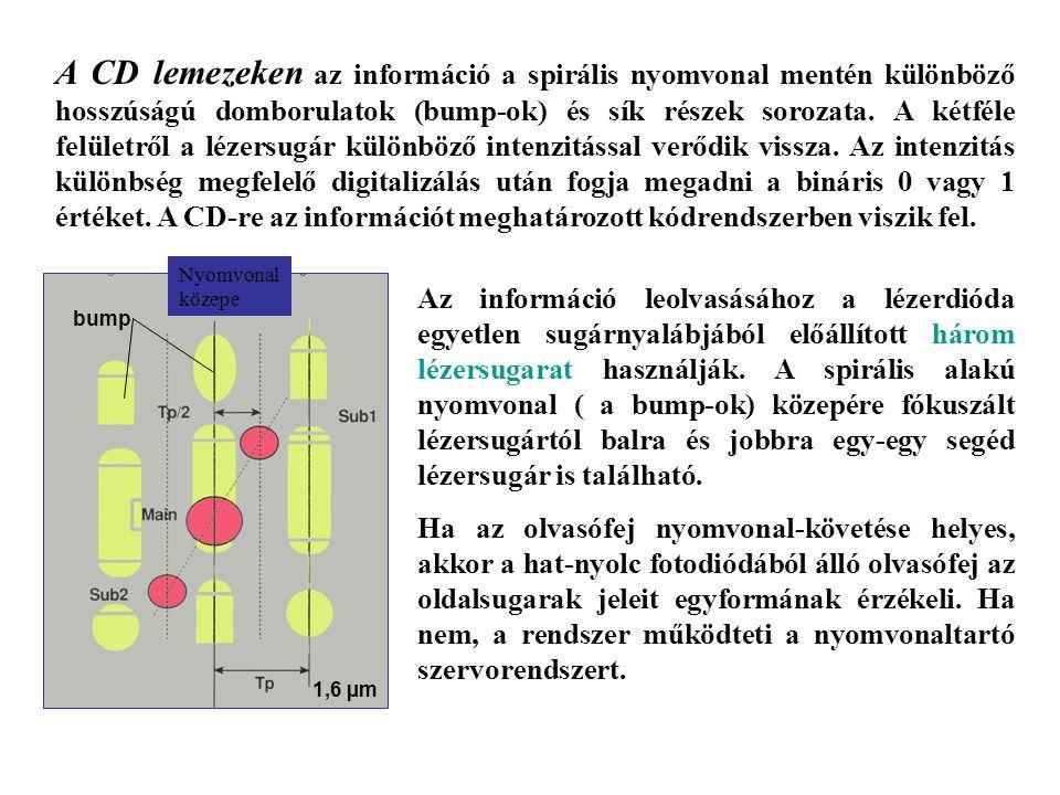 A CD lemezeken az információ a spirális nyomvonal mentén különböző hosszúságú domborulatok (bump-ok) és sík részek sorozata. A kétféle felületről a lézersugár különböző intenzitással verődik vissza. Az intenzitás különbség megfelelő digitalizálás után fogja megadni a bináris 0 vagy 1 értéket. A CD-re az információt meghatározott kódrendszerben viszik fel.