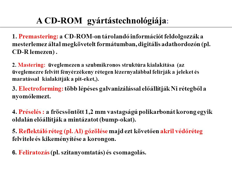 A CD-ROM gyártástechnológiája: