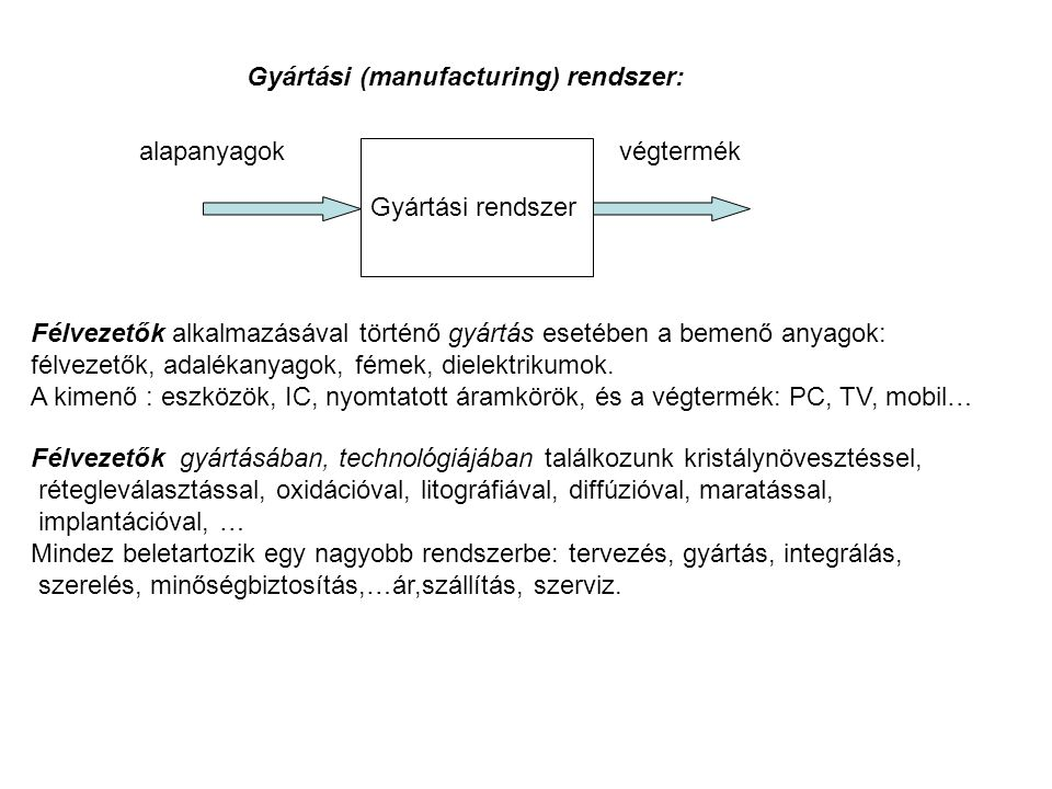 Gyártási (manufacturing) rendszer: