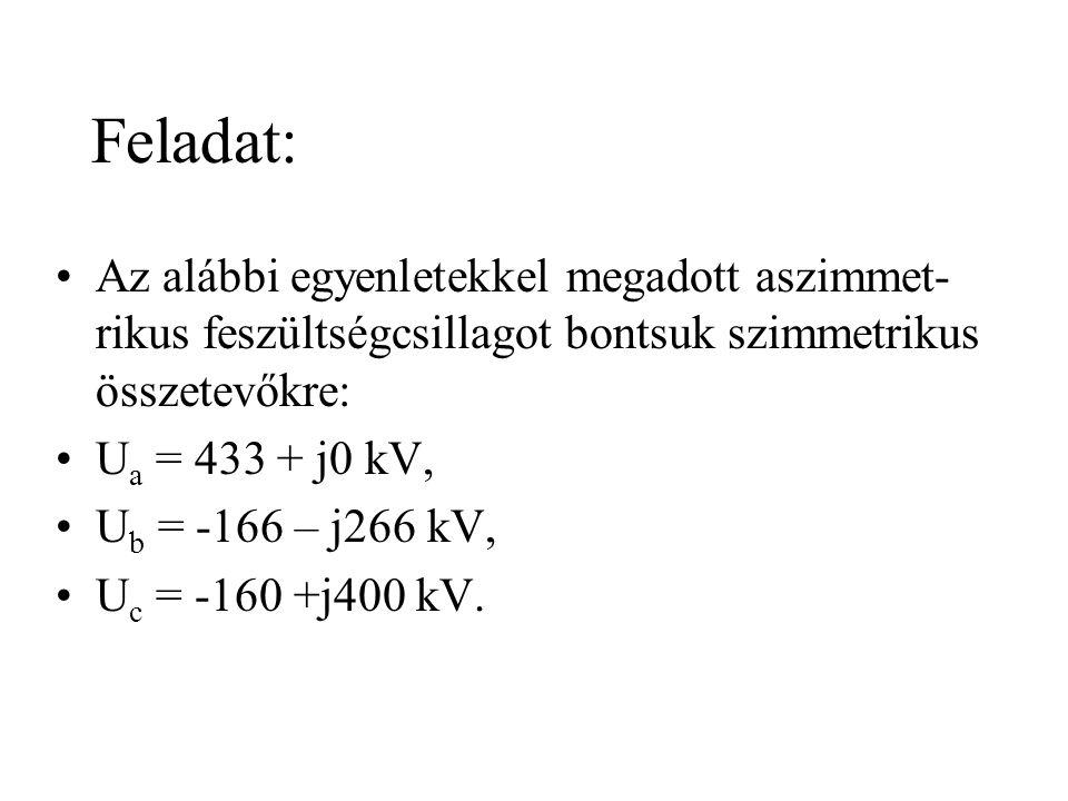 Feladat: Az alábbi egyenletekkel megadott aszimmet-rikus feszültségcsillagot bontsuk szimmetrikus összetevőkre: