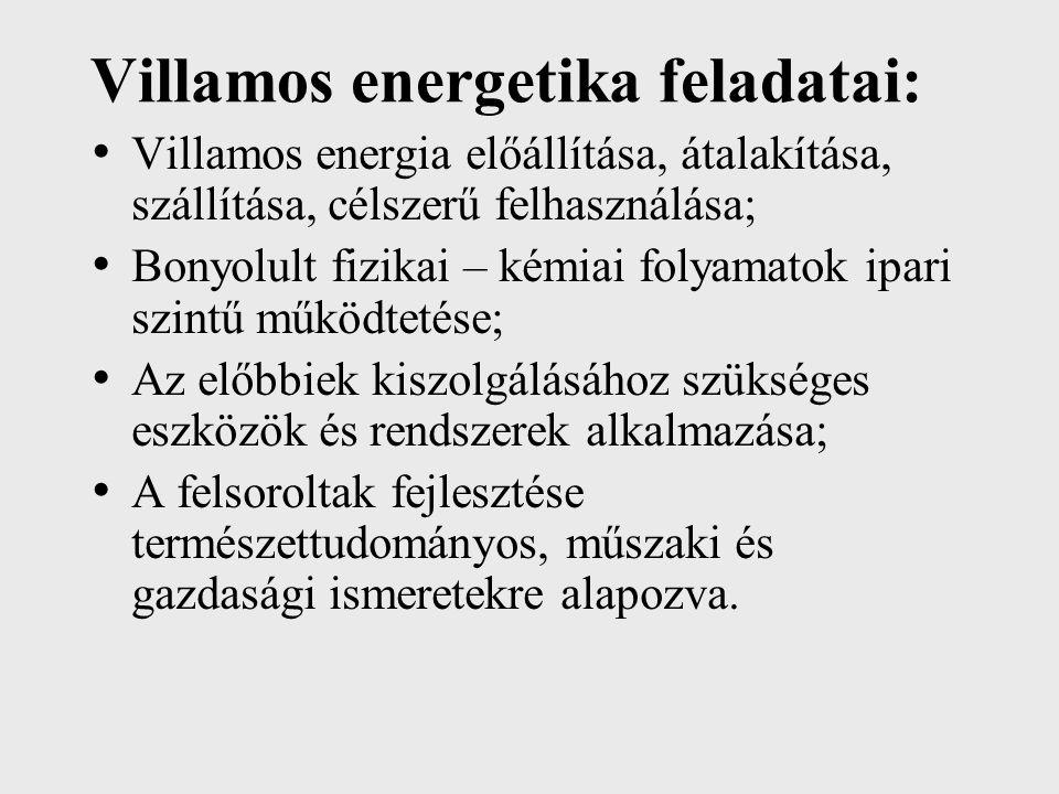 Villamos energetika feladatai: