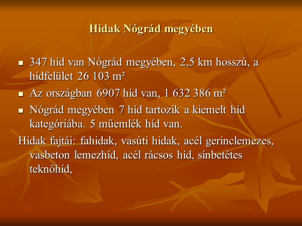 Hidak Nógrád megyében 347 híd van Nógrád megyében, 2,5 km hosszú, a hídfelület 26 103 m². Az országban 6907 híd van, 1 632 386 m².