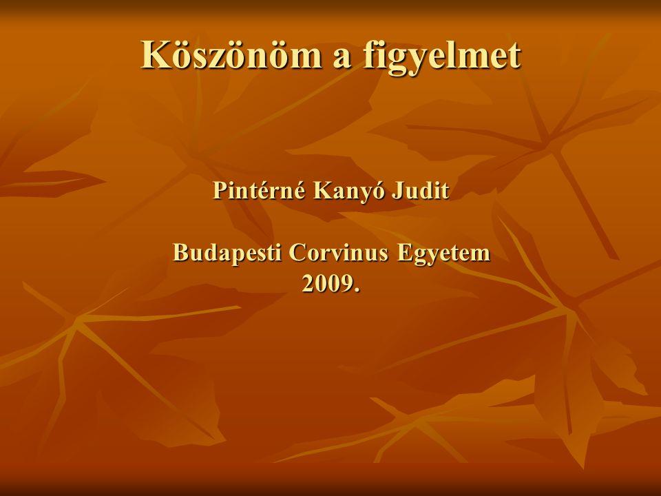 Köszönöm a figyelmet Pintérné Kanyó Judit Budapesti Corvinus Egyetem 2009.