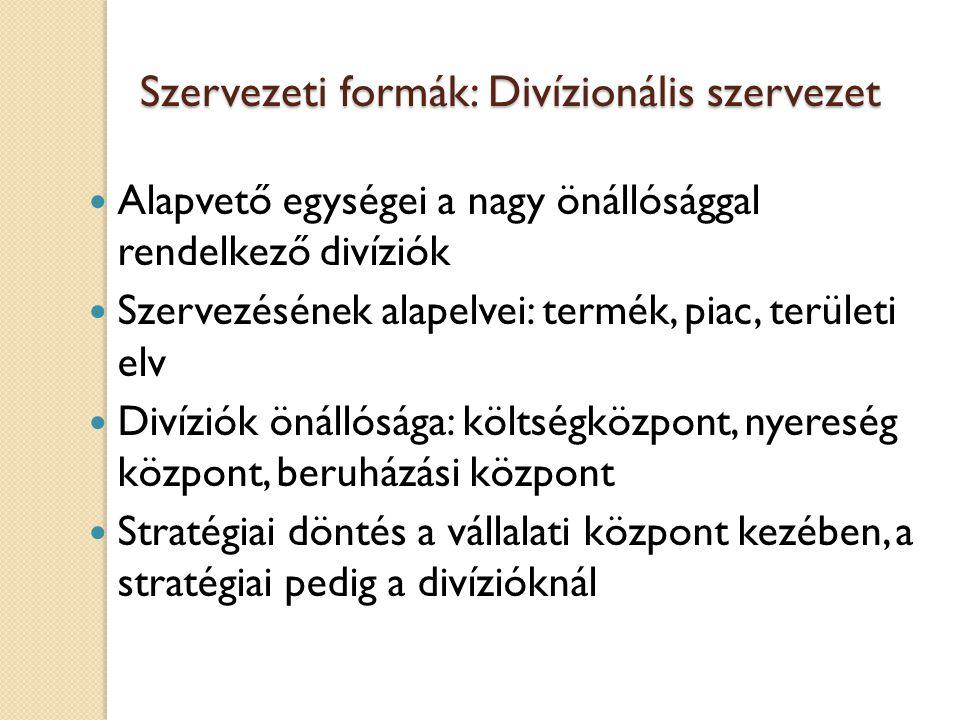 Szervezeti formák: Divízionális szervezet
