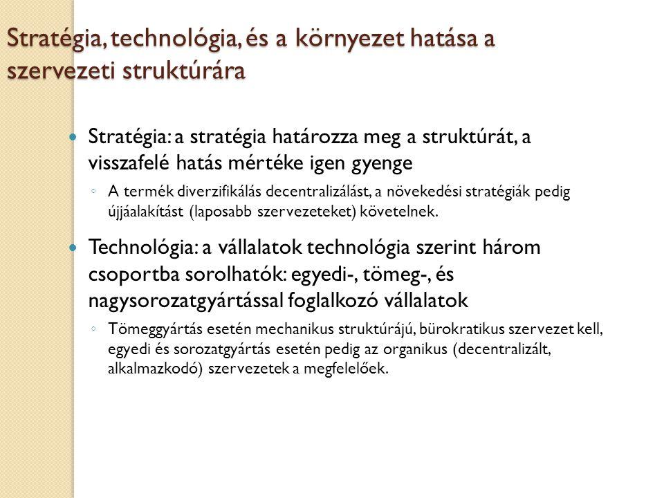 Stratégia, technológia, és a környezet hatása a szervezeti struktúrára