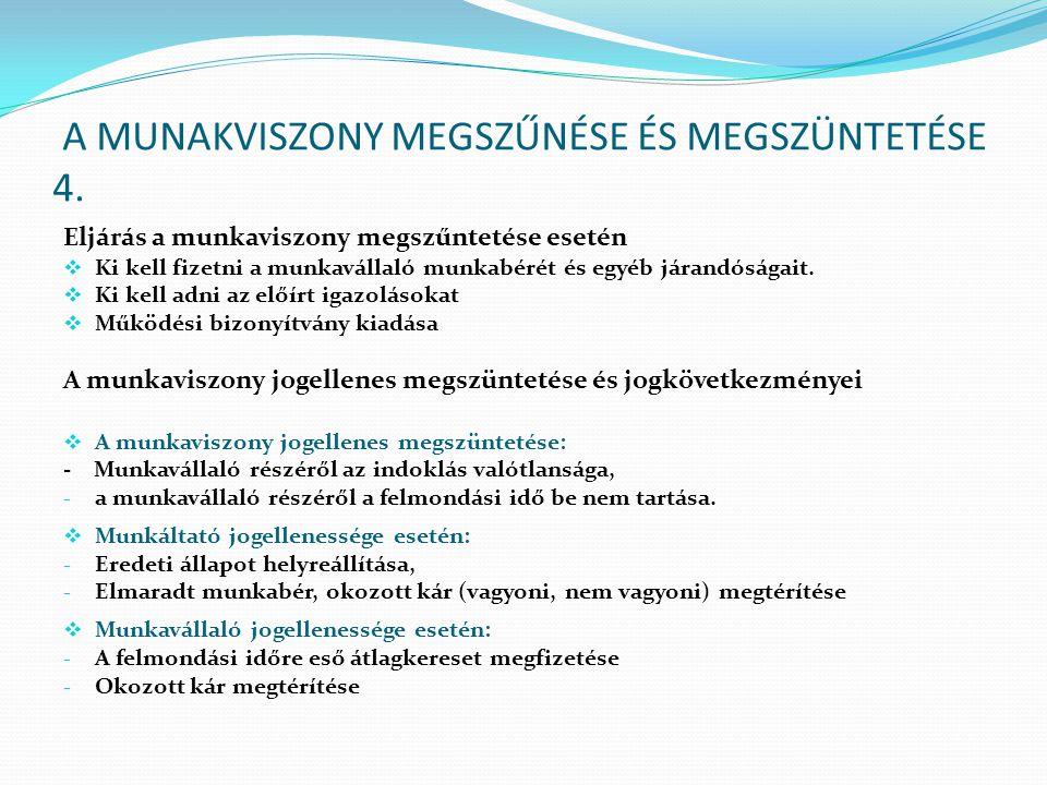 A MUNAKVISZONY MEGSZŰNÉSE ÉS MEGSZÜNTETÉSE 4.