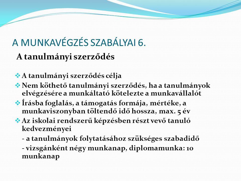 A MUNKAVÉGZÉS SZABÁLYAI 6.