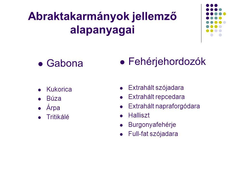 Abraktakarmányok jellemző alapanyagai