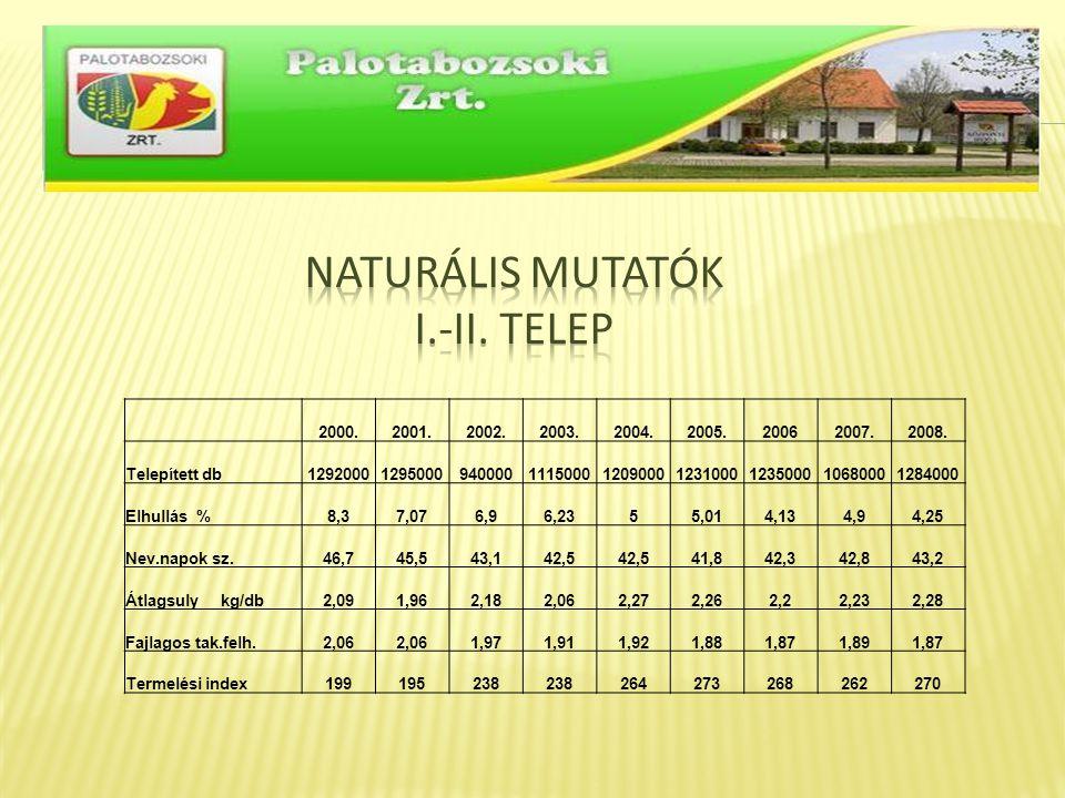 Naturális mutatók I.-II. telep