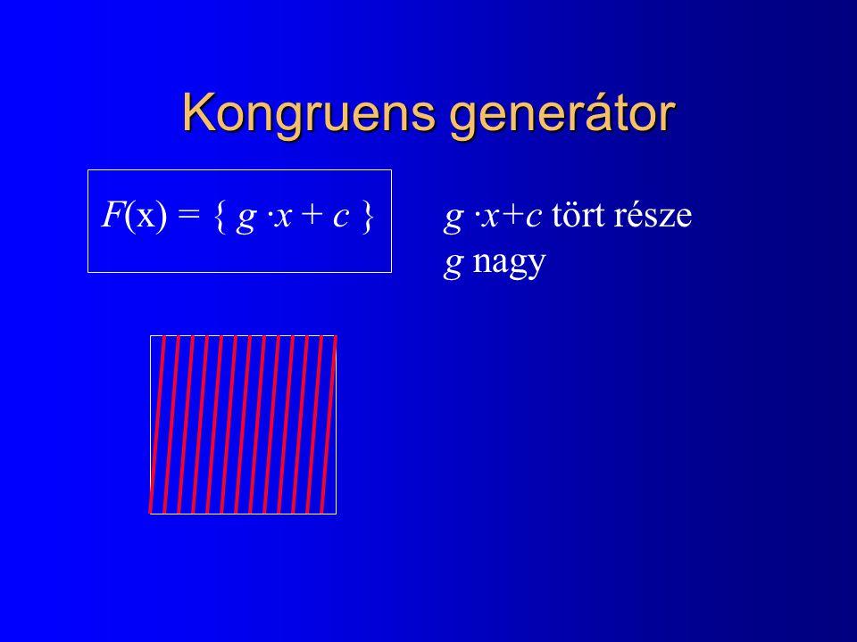 Kongruens generátor F(x) = { g ·x + c } g ·x+c tört része g nagy