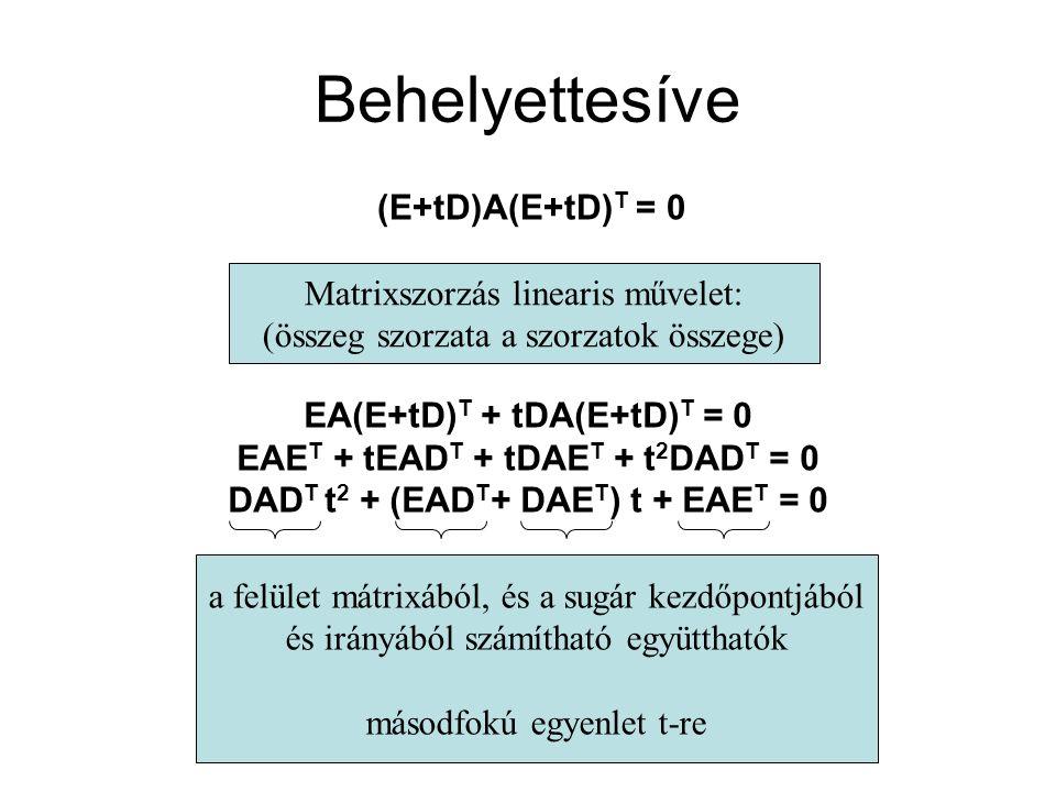 Behelyettesíve (E+tD)A(E+tD)T = 0 Matrixszorzás linearis művelet: