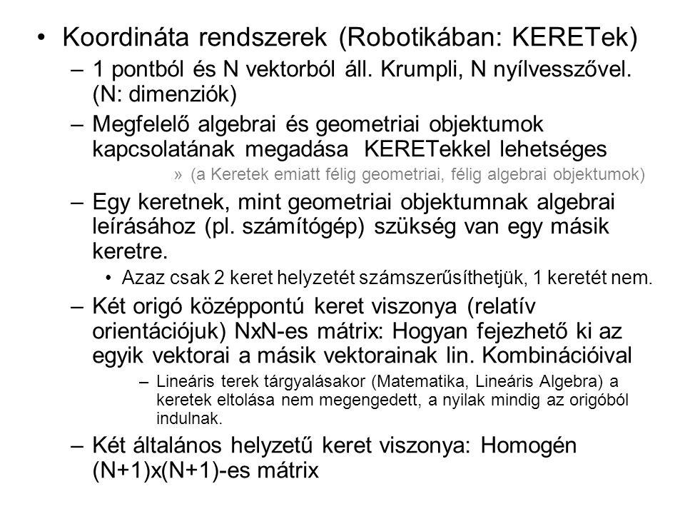 Koordináta rendszerek (Robotikában: KERETek)