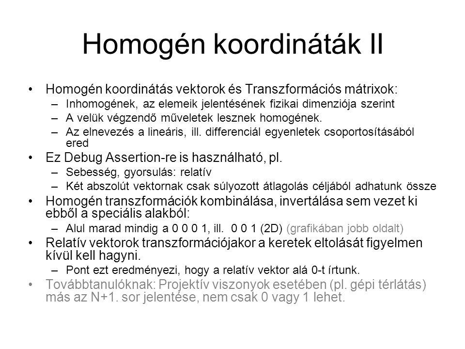 Homogén koordináták II