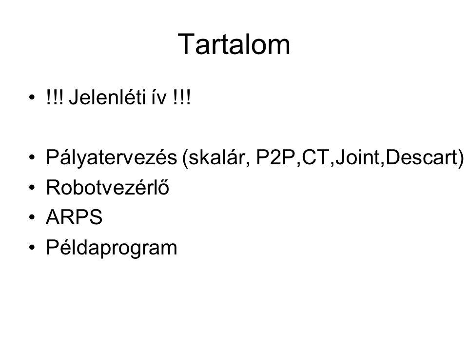 Tartalom !!. Jelenléti ív !!. Pályatervezés (skalár, P2P,CT,Joint,Descart) Robotvezérlő.