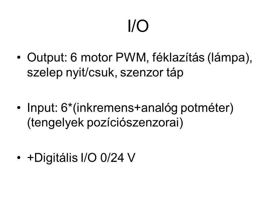 I/O Output: 6 motor PWM, féklazítás (lámpa), szelep nyit/csuk, szenzor táp. Input: 6*(inkremens+analóg potméter) (tengelyek pozíciószenzorai)