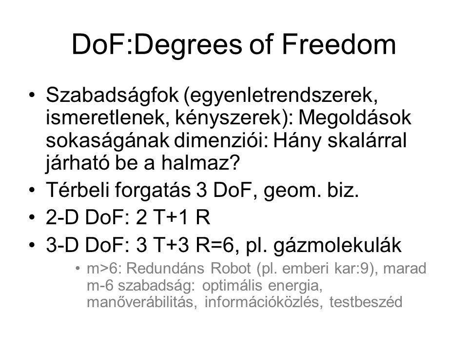 DoF:Degrees of Freedom